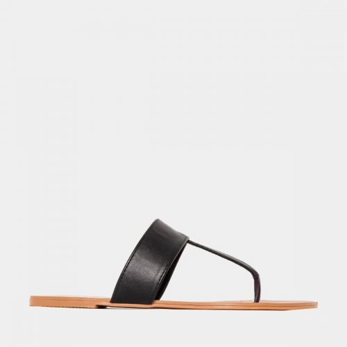 Hope Black Flat Thong Sandals
