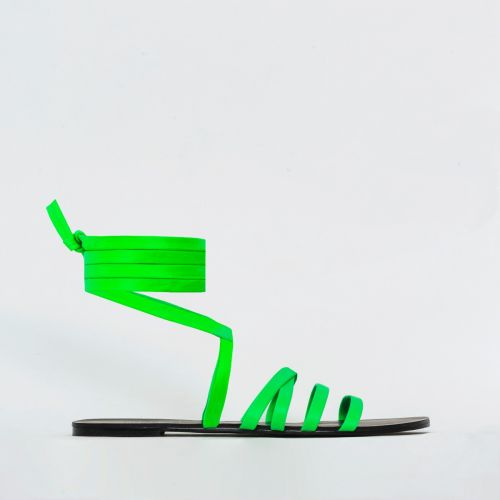 Harlem Green Strappy Lace Up Sandals