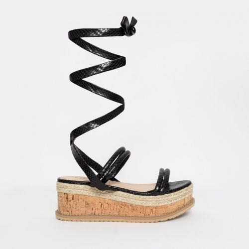 Lexi Black Snake Lace Up Espadrille Flatforms