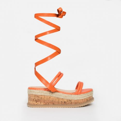 Lexi Orange Snake Lace Up Espadrille Flatforms