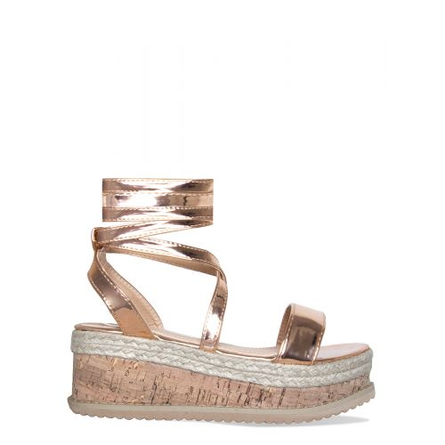 Jenny Rose Gold Lace Up Espadrille Flatforms