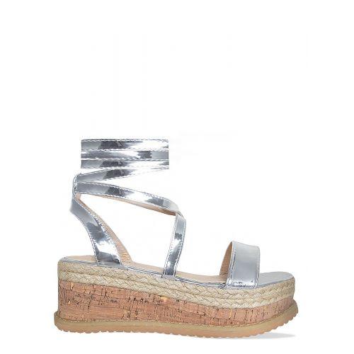 Jenny Silver Lace Up Espadrille Flatforms