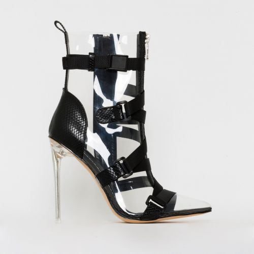 Jordun Black Snake Print Clear Buckle Zip Ankle Boots