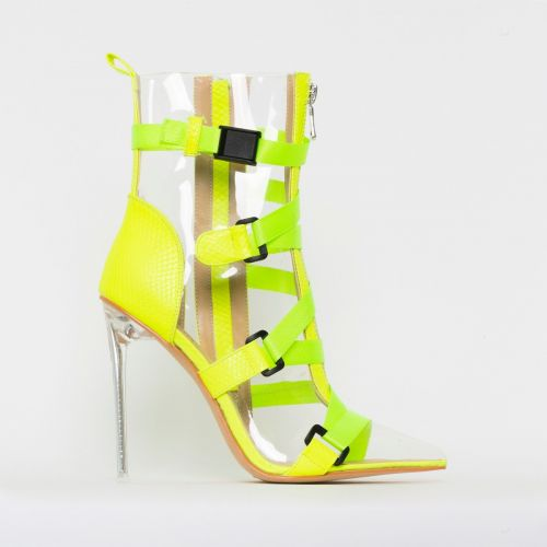 Jordun Yellow Snake Print Clear Buckle Zip Ankle Boots