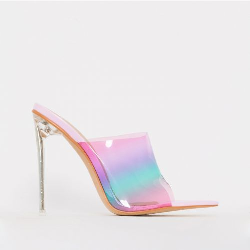 Amerie Baby Pink Ombre Clear Mule Heels