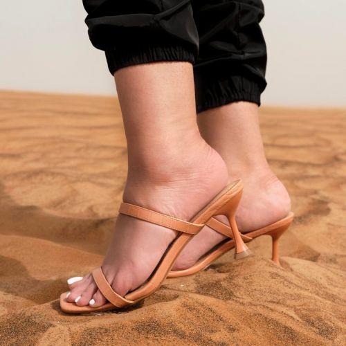 SONIA X FYZA Heat Nude Croc Print Strappy Mid Heel Mules