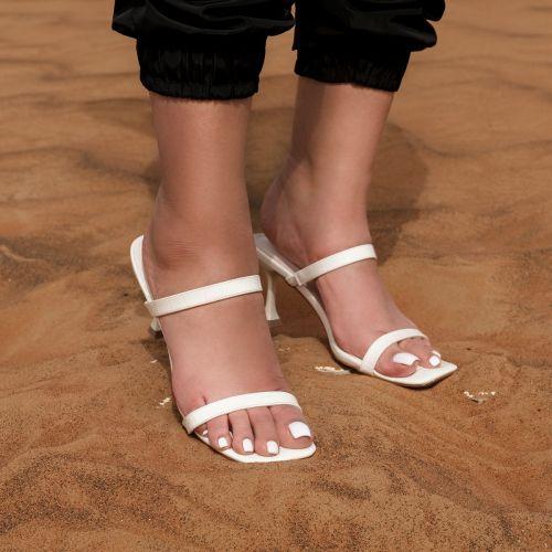 SONIA X FYZA Heat White Croc Print Strappy Mid Heel Mules