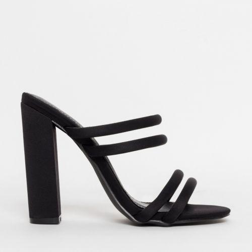 Harper Black Lycra Block Heel Mules