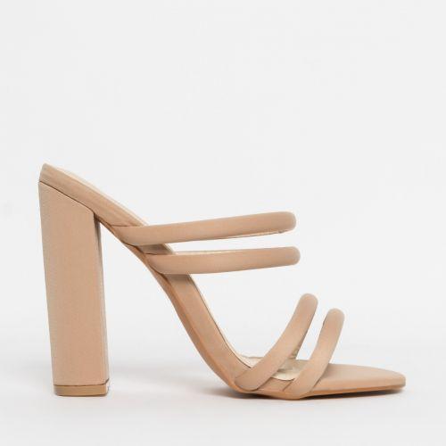 Harper Nude Lycra Block Heel Mules
