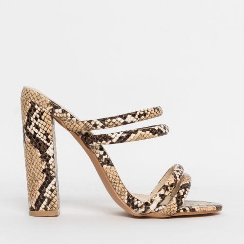 Harper Beige Snake Block Heel Mules