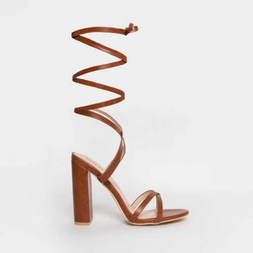 Helena Tan Lace Up Block Heels