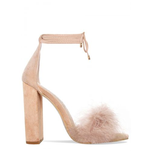 Hattie Beige Suede Fluffy Lace Up Heels