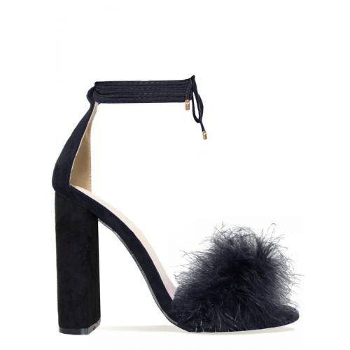 Hattie Black Suede Fluffy Lace Up Heels
