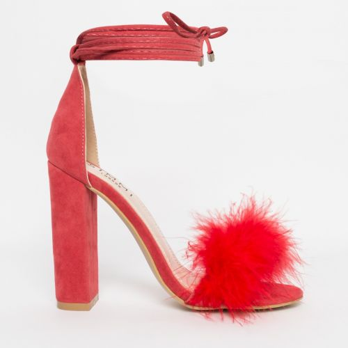 Hattie Coral Suede Fluffy Lace Up Heels