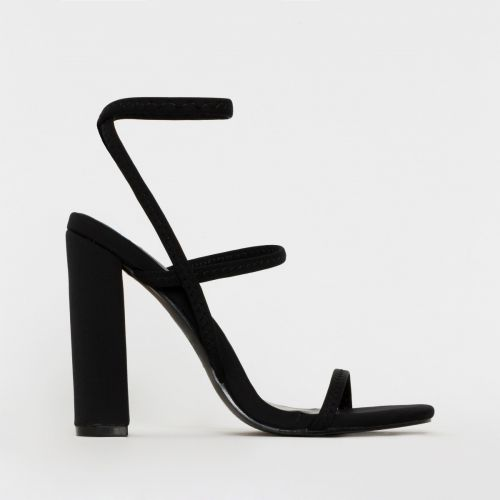 Fearne Black Lycra Strappy Block Heels
