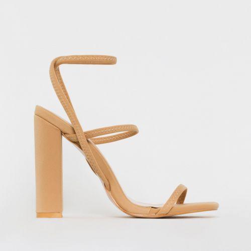 Fearne Nude Lycra Strappy Block Heels