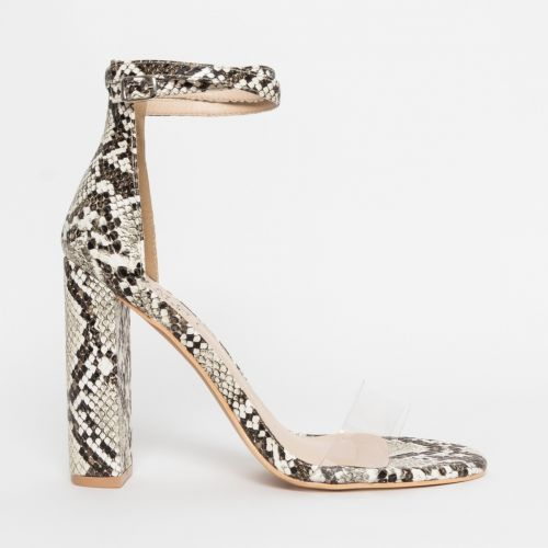 Misha Beige Snake Clear Block Heels