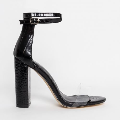 Misha Black Croc Clear Block Heels