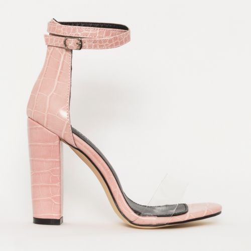 Misha Blush Croc Clear Block Heels