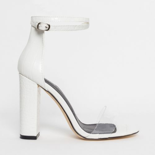 Misha White Croc Clear Block Heels