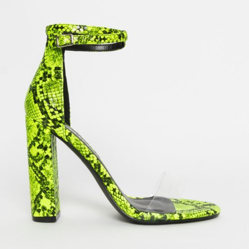 Misha Neon Yellow Snake Clear Block Heels