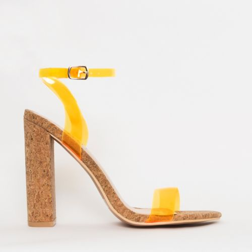 Eleni Neon Orange Clear Cork Block Heels