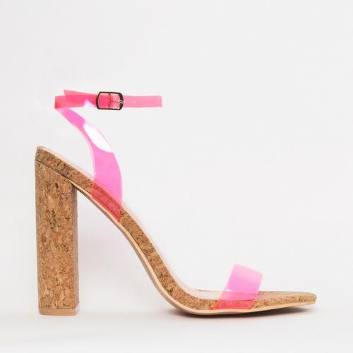 Eleni Neon Pink Clear Cork Block Heels