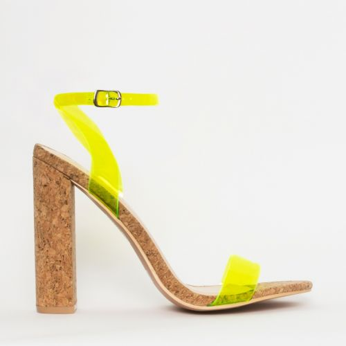 Eleni Neon Yellow Clear Cork Block Heels