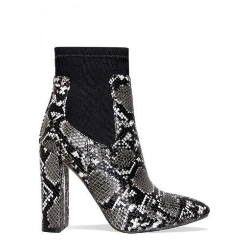 Brandi Grey Snake Block Heel Ankle Boots