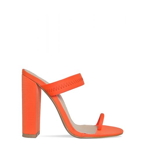 Hailee Neon Orange Lycra Toe Loop Mules