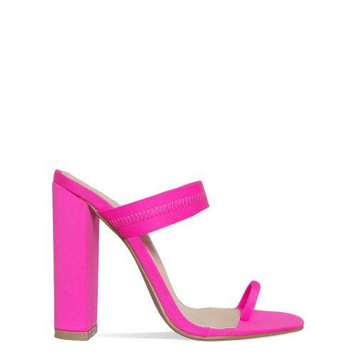 Hailee Neon Pink Lycra Toe Loop Mules