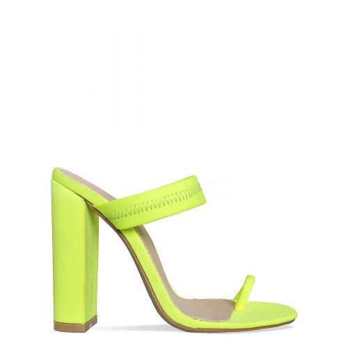 Hailee Neon Yellow Lycra Toe Loop Mules