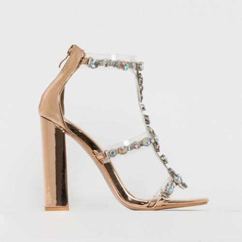 Miami Rose Gold Gem Clear Block Heels