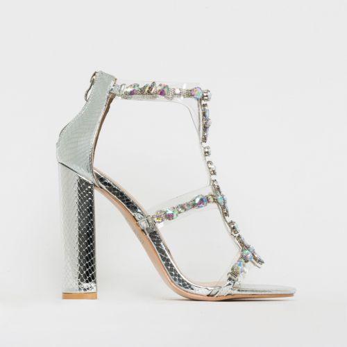 Miami Silver Snake Print Gem Clear Block Heels