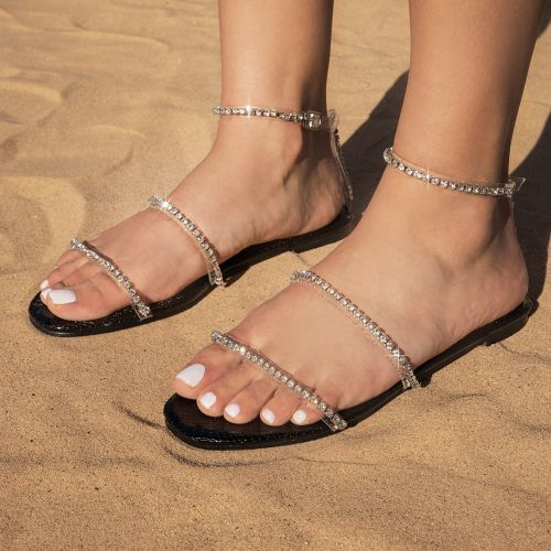 SONIA X FYZA Highlight Clear Black Snake Print Diamante Flat Sandals