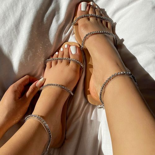 SONIA X FYZA Highlight Clear Nude Patent Diamante Flat Sandals