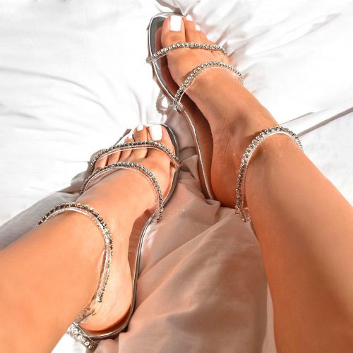 SONIA X FYZA Highlight Clear Silver Diamante Flat Sandals