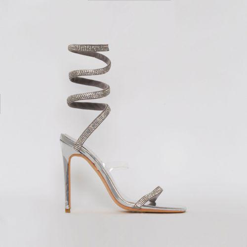 Anastacia Silver Diamante Cuff Stiletto Heels