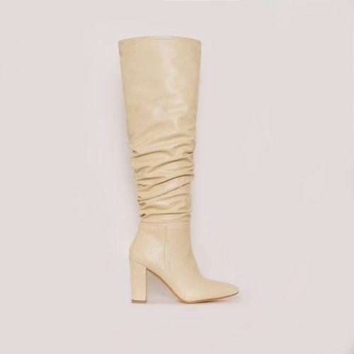 Kimona Stone Snake Print Ruched Block Heel Knee Boots