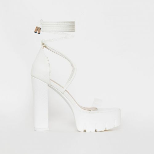 Sula White Snake Print Clear Lace Up Platform Heels