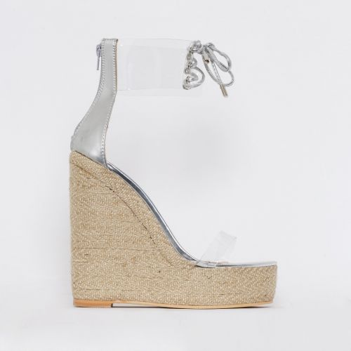 Monique Silver Clear Espadrille Wedges