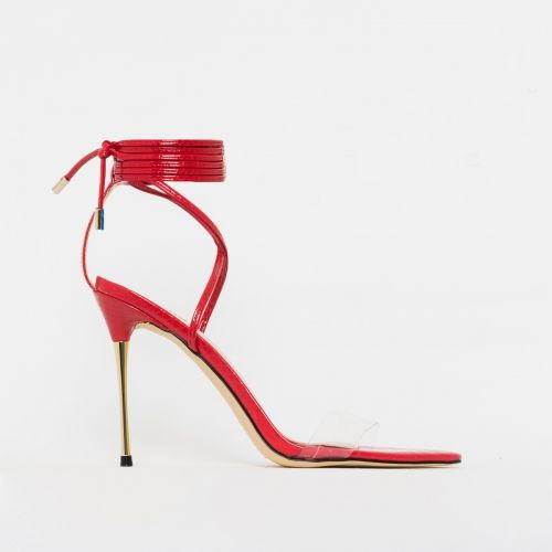Jamaica Red Patent Python Clear Lace Up Heels