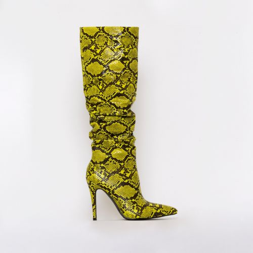 Ebony Yellow Snake Print Ruched Stiletto Knee Boots