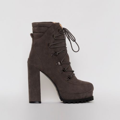 Jackson Grey Suede Lace Up Platform Ankle Boots