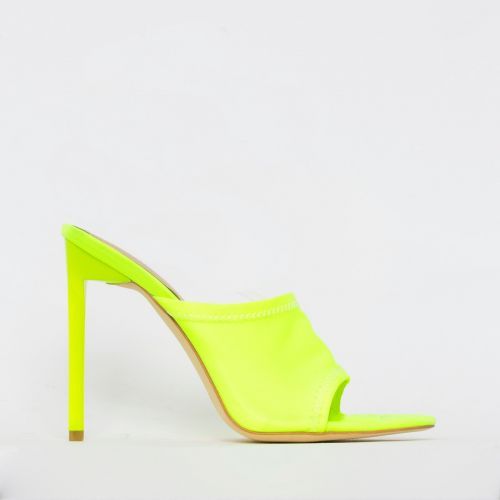 Tiana Neon Yellow Lycra Stiletto Mules