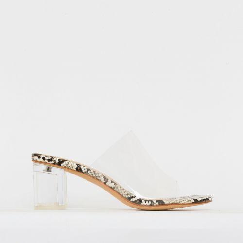 Chloe Beige Snake Clear Mid Block Heel Mules