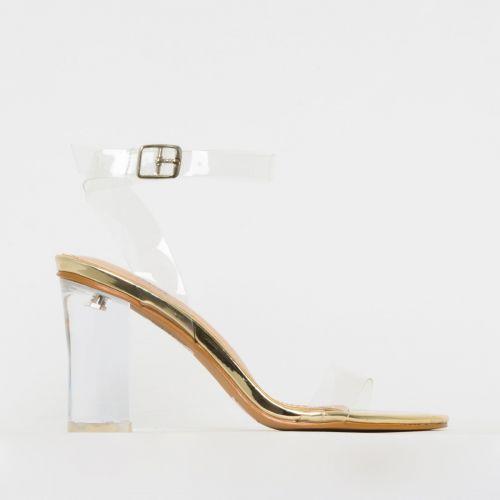 Kimana Light Gold Clear Mid Block Heels