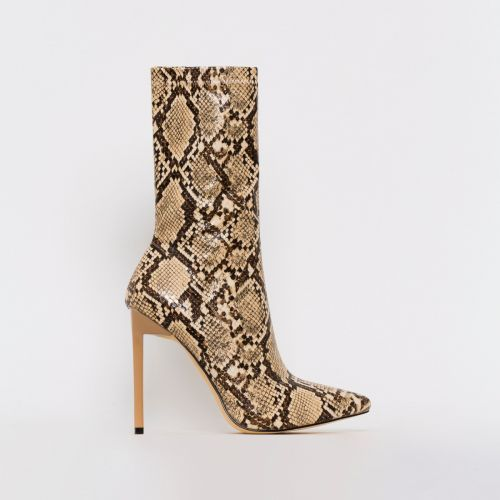 Lucinda Beige Snake Print Stiletto Ankle Boots