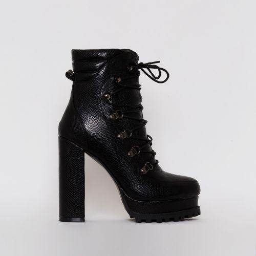 Jackson Black Snake Print Lace Up Platform Ankle Boots