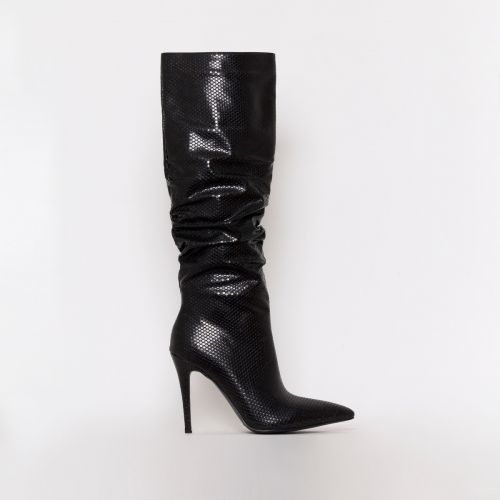 Ebony Black Snake Print Ruched Stiletto Knee Boots